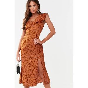 Cheetah One Shoulder Midi Dress